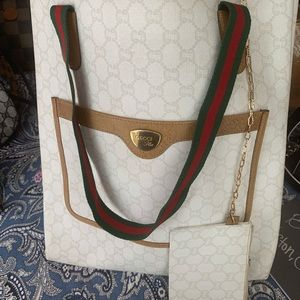 Auth GUCCI Web Sherry Line GG Plus Canvas Tote Bag